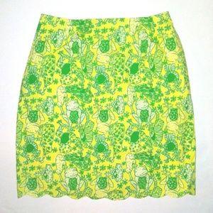 VTG Lilly Pulitzer Frog Print A Line Skirt Size 10